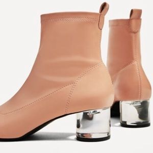 d87d4f80222 Zara Shoes - Zara Nude Pink Ankle Bootie Heels Size 11